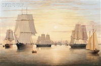 sailing ships in boston harbor by brian coole