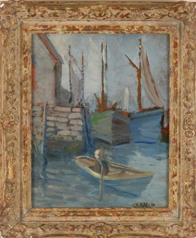 harbor with man in boat by charles salis kaelin