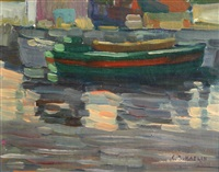 harbor scene by charles salis kaelin