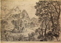 landscape with a snipe-shooting (after e. coninxloo) by nicolaes de bruyn