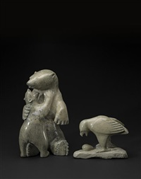 a polar bear mother and cub and a hawk with an egg (2 works) by ohito ashoona