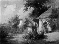 peasants gathering in cottage garden by acs agoston