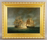 two ships, the uss president, 44 guns, commodore john rogers and the little belt british sloop of war, 20 guns, capitan bingham by brian coole