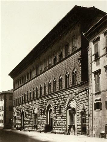 view of palazzo medici, florence by fratelli alinari