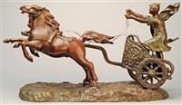 ein auf seinem streitwagen stehender, römischer wagenlenker, sein kraftvoll voraus galoppierendes pferdegespann antreibend by william morris hunt