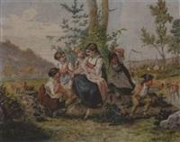 spielende kinder auf der weide by johann-salomon hegi