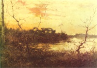 sunset over a wooded marsh with a peasant by h. aligny