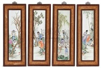 粉彩人物四条屏 (figural four panel screen) (in 4 parts) by liu xiren
