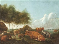 rastende kühe in sommerlicher landschaft by dirk van bergen