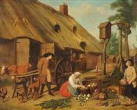 küchenmagd und bauern beim vorbereiten der marktfahrt by jan josef horemans the younger