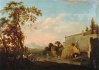 bauern mit viehherde vor einer ruine by jan asselijn