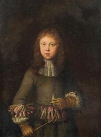 portrait eines edlen jünglings mit peitsche by jan van noordt