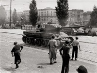 riots june 17, 1953 in berlin, leipziger straße and potsdamer platz (5 works) by wolfgang albrecht