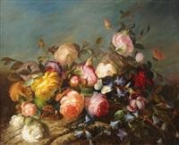 rosenbouquet auf waldboden by adriana johanna haanen