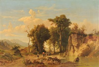 prozession in der landschaft by johann (jan) kautsky