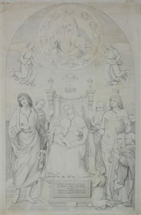 madonna mit kind und gottesvater (altar picture in s. francesco in urbino) by august wilhelm julius ahlborn