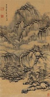 松峰耸翠图 (landscape) by fa ruozhen