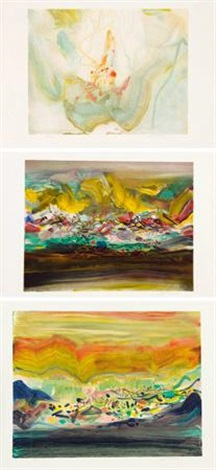 版画 3 works various sizes by chu teh chun