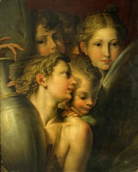 group of angels, from the madonna of the long neck by parmigianino
