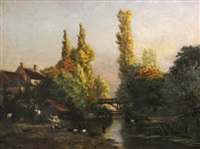an extensive river landscape with washerwomen and ducks in the foreground by paul-leon gagneau