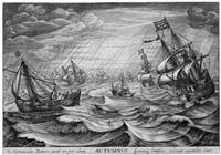 die vier jahreszeiten (4 schiffs- und landschaftsdarstellungen) (suite of 4 after cornelis van wieringhen) by robert willemsz. de baudous