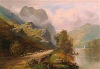 a mountainous landscape with a shepherd and his flock on a track by a river by william gilbert foster