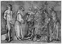 die sechs heiligen (sebastian, franziskus, antonius, petrus, nikolaus und katharina) (after titian) by niccolo boldrini