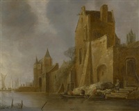 a river scene with buildings by frans de hulst