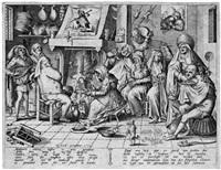 der fastnachtsdienstag oder: holländisches kücheninterieur mit waffelbäckerei (by pieter van der heyden) by hieronymus bosch