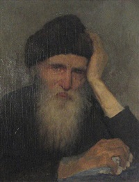 an old man with a fur hat by albert janesch