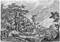 landschaft mit einem dorf und wagen mit zwei pferden; landschaft mit einem schloss hinter hütten, links zwei schäfer (2 works) by hans bol