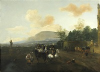 elegant figures and coaches before a country house by pieter wouwerman