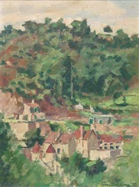 bird's eye view of a village in the woods by cees bolding