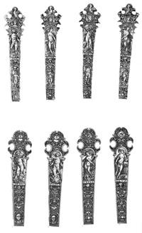vier ornamentale entwürfe für messergriffe mit den darstellungen der 4 elemente (4 works) by johann theodor de bry