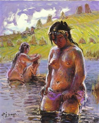 bathers in the sun by luo zhongli