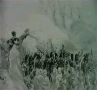 szene aus den napoleonischen kriegszugen,          im vordegrund offizier by louis dunki