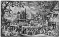 der flämische bauernjahrmarkt (after david vinckboons) by nicolaes de bruyn