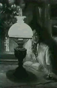 woman reading by lamplight by theodore p. modra
