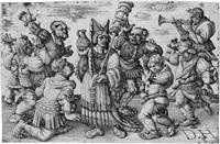 karneval - sechs karnevaltänzer umgeben eine wurstverkäuferin by daniel hopfer
