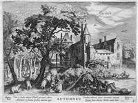 der herbst - ansicht von schloß maersen (from vier jahreszeiten, after david vinckboons) by hessel gerrits