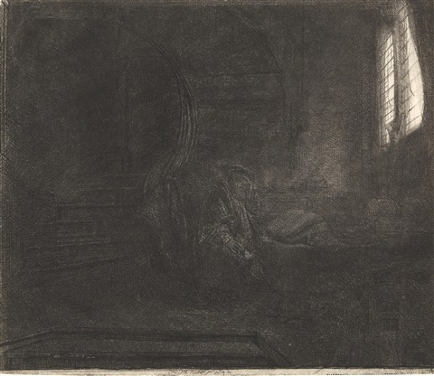 st jerome in a dark chamber by rembrandt van rijn