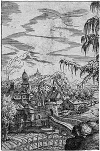 landschaft mit bauernkate und stadt am fluß (linke hälfte der platte) by hans sebald lautensack