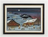 winterlandschaft bei nacht by albert manser
