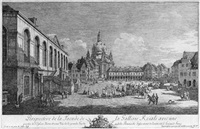 perspective de la facade de la gallerie roiale avec une partie de l'eglise nôtre dame ... (der neumarkt zu dresden vom judenhof aus) by bernardo bellotto