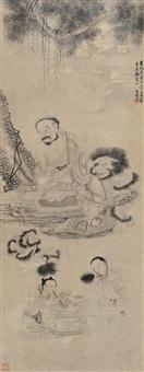 白描人物 (landscape) by bai ben