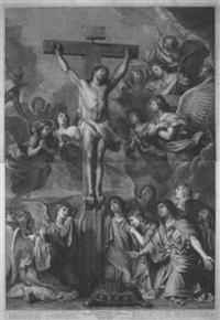 christus am kreuz, von engeln beweint by gérard edelinck