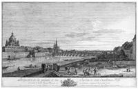 galerie et jardin du comte de brühl, à dresde (ansicht von dresden mit blick auf die brühl'sche terrasse und die augustusbrücke) by bernardo bellotto