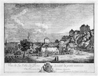 vue de la pirne devant la porte nommée/oberthor, avec la forteresse de sonnenstein by bernardo bellotto