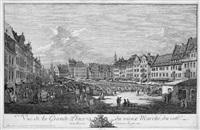vue de la grande place du vieux marché, du coté de la rue du chateau royal (der altmarkt zu dresden von der seestraße aus, an einem markttag mit vielen ständen und staffage) by bernardo bellotto