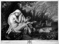 callisto mit amor am fluss badend, von jupiter beobachtet (jupiter und callisto) (after anthonie van dyck ) by richard earlom